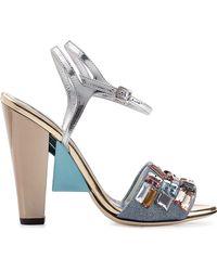 Fendi Metallic Leather Sandals - Lyst