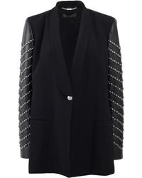 Versace Leather Sleeved Blazer - Lyst