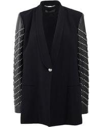 Versace Leather Sleeved Blazer - Lyst