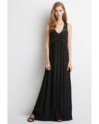 Forever 21 Lace-Paneled Maxi Dress - Lyst