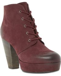 Steve Madden Raspy Leather Lace Up Ankle Boots - Lyst