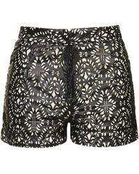 Wyldr - Boho - Laser Cut Faux Leather Shorts By - Lyst