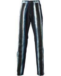 Issey Miyake Blue Striped Jean - Lyst