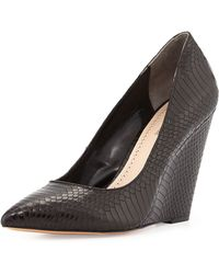Pour La Victoire Lozanne Snake-embossed Wedge Pump - Lyst