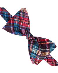 Thomas Pink - Allington Check Self Tie Silk Bow Tie - Lyst