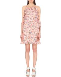 MSGM Floral-Print Silk Summer Dress - For Women - Lyst