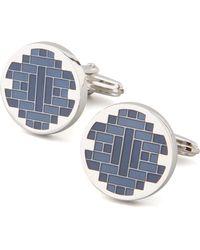 Lanvin Round Blue Lacquer Cufflinks - Lyst