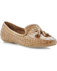 Dune Lasso Woven Leather Slippers Tanleather - Lyst