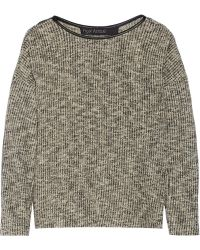 Yigal Azrouel Leather Trimmed Cotton Blend Sweater - Lyst