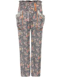Isabel Marant Almon Printed Silk Trousers - Lyst