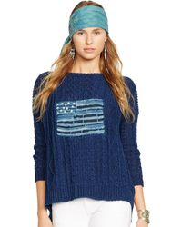 Ralph Lauren Flag Cotton Sweater - Lyst