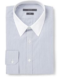 Gucci Navy Slimfit Contrastcollar Striped Cotton Shirt - Lyst