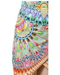 Manish Arora Printed Beaded Peached Cotton Wrap Skirt - Multicolour
