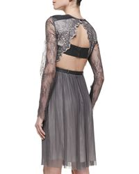 Catherine Deane Maria Lace Leatherdetail Dress Pewter Dove - Lyst