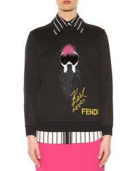 Fendi | Fur-embellished Cotton-blend Sweater | Lyst