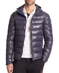 Emporio Armani Hooded Nylon Puffer Jacket blue - Lyst
