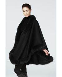 Sofia Cashmere Pure Cashmere Oversize Wrap Cape Trimmed With Real Dyed Fox black - Lyst