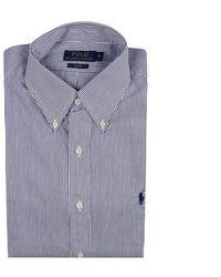 Polo Ralph Lauren Shirt Botton Down Popeline Slim Fit Stripped blue - Lyst