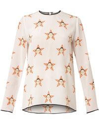 Caterina Gatta - Faces And Stars-print Silk Top - Lyst