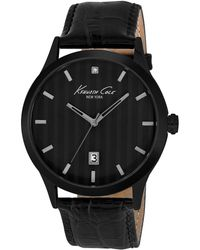 Kenneth Cole Mens Blackplated Threehand Watch with Leather Strap - Lyst