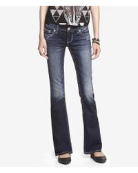 Express Low Rise Thick Stitch Boot Cut Jean - Lyst
