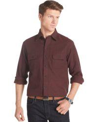 Izod Solid Long-Sleeve Twill Shirt - Lyst