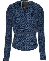 Jane Norman Tribal Jacquard Zip Front Long Sleeve Jacket - Lyst