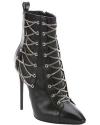 Giuseppe Zanotti Nero Leather 'Olinda 110' Lace-Up Detail Stiletto Ankle Booties - Lyst