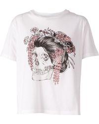 Alexander McQueen Geisha Skull Print T-Shirt - Lyst