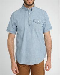 Carhartt Blue Roy Grandad Collar Ss Shirt - Lyst
