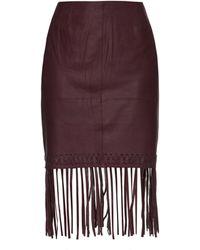 Elizabeth and James Jaxson Leather Fringe Skirt - Red