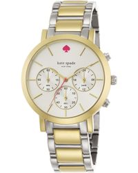 Kate Spade Gramercy Grand Two-Tone Stainless Steel Bracelet Chronograph Watch - Lyst