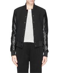 Elizabeth And James 'Sam' Leather Sleeve Cloqué Knit Baseball Jacket black - Lyst
