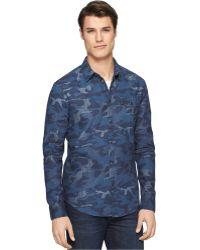 Calvin Klein Jeans Camo Denim Shirt - Lyst