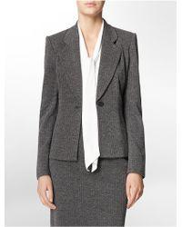 Calvin Klein White Label One Button Black + Grey Herringbone Suit Jacket - Lyst