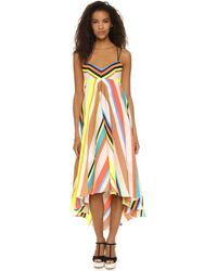 MILLY Stripe Mitered Trapeze Dress - Multicolour
