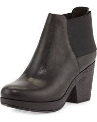 Eileen Fisher Cloud Leather Stretchback Ankle Bootie - Lyst
