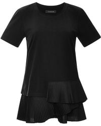 Thakoon Pleated Cotton T-Shirt black - Lyst