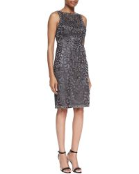 Sue Wong Embellished Scroll Sheath Dress - Lyst