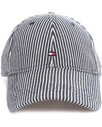 Tommy Hilfiger Blue And White Striped Twill Cap - Lyst