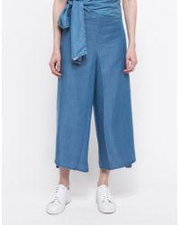 Ganni Sunset Lyocell Pants blue - Lyst