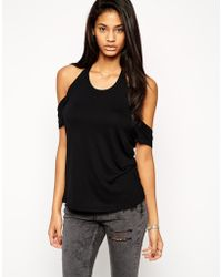 Asos T-Shirt With Open Back And Cold Shoulder - Lyst
