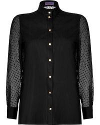 Emanuel Ungaro Cotton Poplin Blouse with Silk Chiffon Sleeves - Lyst