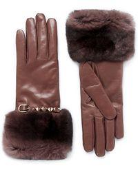 Valentino Rockstud Rabbit Fur Leather Gloves - Lyst