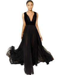 Elie Saab Silk Georgette and Velvet Dress - Lyst