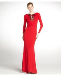 Badgley Mischka Scarlet Stretch Beaded Detail Long Sleeve Gown - Lyst