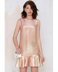Nasty Gal Major Space Metallic Dress gold - Lyst