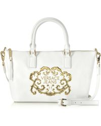 Versace Jeans White Eco Leather Tote W/Shoulder Strap - Lyst