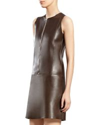 Gucci Chocolate Brown Bonded Leather Dress - Lyst