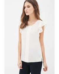 Forever 21 Ruffle Sleeve Chiffon Top - Lyst